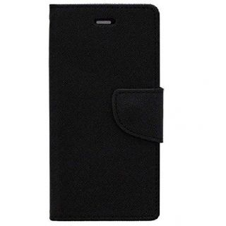 NEW FANCY DIARY WALLET FLIP CASE BACK COVER For Micromax Canvas Selfie Lens Q345 BLACK