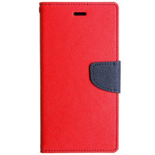 FANCY WALLET DIARY WITH STAND VIEW FAUX LEATHER FLIP COVER For HTC Desire 516 RED