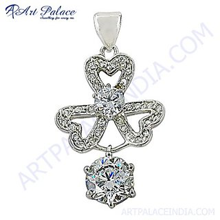 Creative Stylish Cubic Zirconia Gemstone Silver Pendant