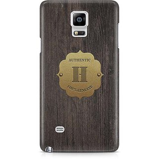 YuBingo Monogram With Beautifully Written Wooden And Metal (Plastic) Finish Letter H Designer Mobile Case Back Cover For Samsung Galaxy Note 4