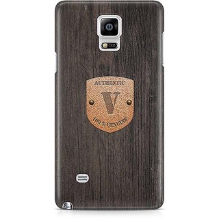 YuBingo Monogram With Beautifully Written Wooden And Metal (Plastic) Finish Letter V Designer Mobile Case Back Cover For Samsung Galaxy Note 4