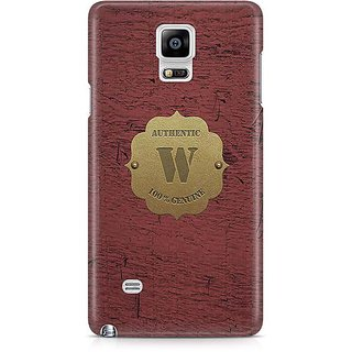 YuBingo Monogram With Beautifully Written Wooden And Metal (Plastic) Finish Letter W Designer Mobile Case Back Cover For Samsung Galaxy Note 4