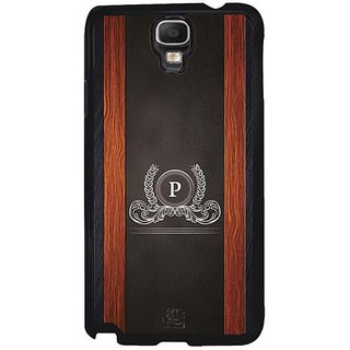 YuBingo Monogram With Beautifully Written Wooden And Leather (Plastic) Finish Letter P Designer Mobile Case Back Cover For Samsung Galaxy Note 3 Neo