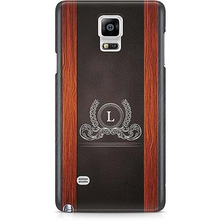 YuBingo Monogram With Beautifully Written Wooden And Leather (Plastic) Finish Letter L Designer Mobile Case Back Cover For Samsung Galaxy Note 4