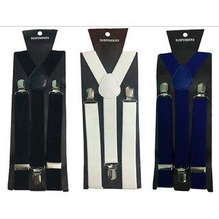 Y- Back Suspenders for Men(Black White Royal Blue Color)