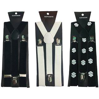 Y- Back Suspenders for Men(Black White Designer)