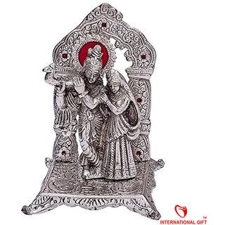 Buy Silver Plated Radha Krishna 92 5 Silver Finish God
