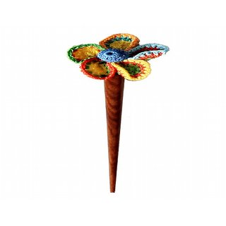 Muti-colored Crochet petal flower Hair Stick