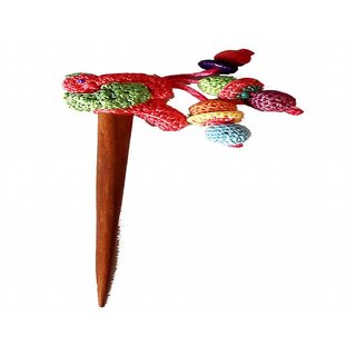 Pink Crochet bird and multi-colored Tassels Hair Stick