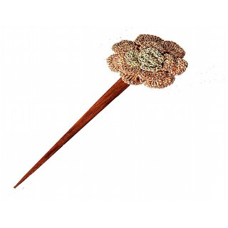 Silver and Light copper Crochet Rose Hair Stick