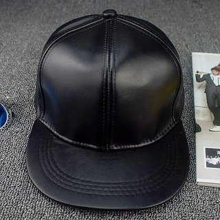 370faa8c0d3 Buy PLAIN BLACK FAUX LEATHER HIP-HOP CAP SNAP-BACK CAP Online   ₹399 from  ShopClues
