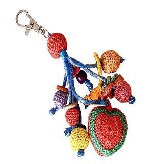 Hand Crochet Heart key Chain