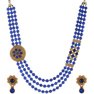 Bead Designs Blue Beads Necklace and Earrings Set