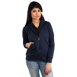 Snoby Navy blue Double zipper hoody jacket (SET_1042)