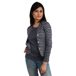 Snoby Blue striped open jacket (SET_1047)