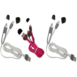 Olac C Type Dual & Micro USB Cable (Pack of 3)