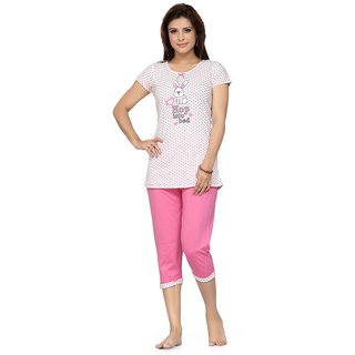 1d6afd05df Skin Wrap 230a Top and Capri Pyjama Set Nightwear Loungewear Printed  Caprisuit