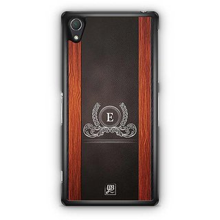 YuBingo Monogram With Beautifully Written Wooden And Leather (Plastic) Finish Letter E Designer Mobile Case Back Cover For Sony Xperia Z2
