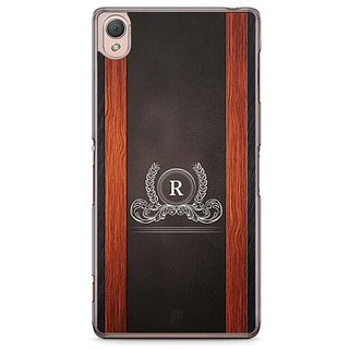 YuBingo Monogram With Beautifully Written Wooden And Leather (Plastic) Finish Letter R Designer Mobile Case Back Cover For Sony Xperia Z3