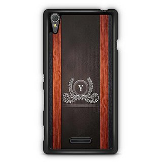YuBingo Monogram With Beautifully Written Wooden And Leather (Plastic) Finish Letter Y Designer Mobile Case Back Cover For Sony Xperia T3