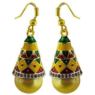American Diamond meenakari jhumki earring246