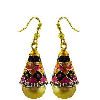 American Diamond meenakari jhumki earring249