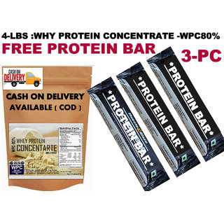4Lbs-Whey Protein Concentrate WPC80%:-Unflavored - FREE PROTEIN BAR 3PC OF 300RS - 3445932
