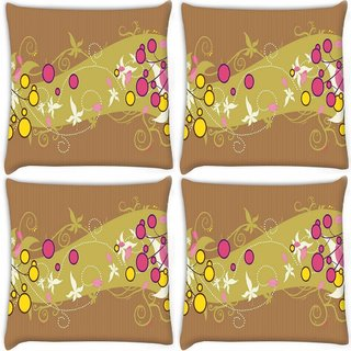Snoogg Pack Of 3 Simple Text Brown Digitally Printed Cushion Cover Pillow 18 x 18Inch