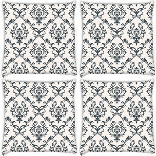 Snoogg Pack Of 3 Blue Pattern Digitally Printed Cushion Cover Pillow 18 x 18Inch