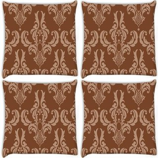 Snoogg Pack Of 3 Brown Abstract Pattern Digitally Printed Cushion Cover Pillow 18 x 18Inch