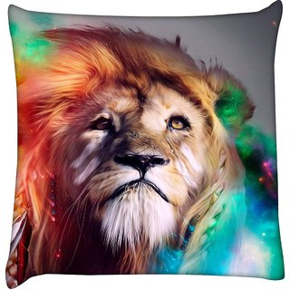 Snoogg colorful lion 2770  Digitally Printed Cushion Cover Pillow 18 x 18 Inch