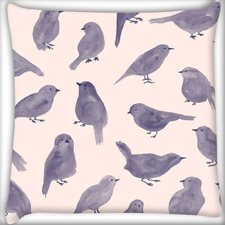 Snoogg Pigeon paint Digitally Printed Cushion Cover Pillow 18 x 18 Inch