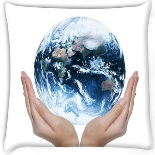 Snoogg  earth globe Digitally Printed Cushion Cover Pillow 18 x 18 Inch