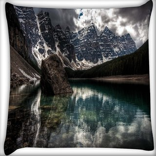 Snoogg Lake View Digitally Printed Cushion Cover Pillow 18 x 18 Inch