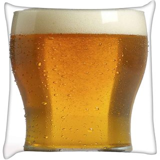 Snoogg BEER GLASS UP  Digitally Printed Cushion Cover Pillow 18 x 18 Inch