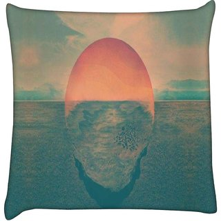 Snoogg  SUNSET ILLUSTRATION  Digitally Printed Cushion Cover Pillow 18 x 18 Inch