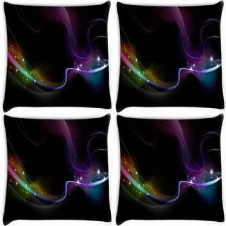Snoogg Pack Of 3 Wavy Neon Ribbon Digitally Printed Cushion Cover Pillow 18 x 18Inch