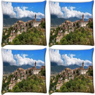Snoogg Pack Of 3 River Side Houses Digitally Printed Cushion Cover Pillow 18 x 18Inch