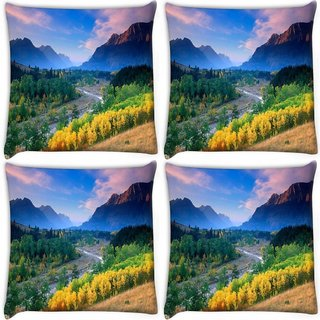 Snoogg Pack Of 3 Yellow Flowers Digitally Printed Cushion Cover Pillow 18 x 18Inch