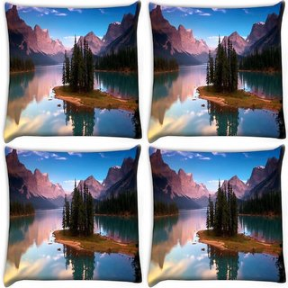 Snoogg Pack Of 3 Treea And Lake Digitally Printed Cushion Cover Pillow 18 x 18Inch