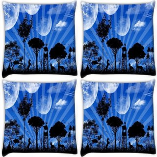 Snoogg Pack Of 3 Abstract Blue Nature Digitally Printed Cushion Cover Pillow 18 x 18Inch
