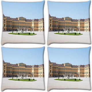 Snoogg Pack Of 3 Yellow Palace Digitally Printed Cushion Cover Pillow 18 x 18Inch