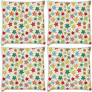Snoogg Pack Of 3 Abstract Colorful Stars Digitally Printed Cushion Cover Pillow 18 x 18Inch