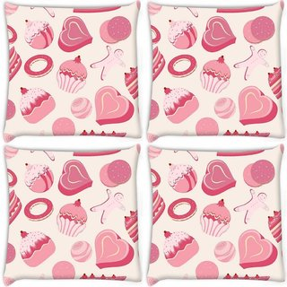 Snoogg Pack Of 3 Abstract Pink Cakes Digitally Printed Cushion Cover Pillow 18 x 18Inch