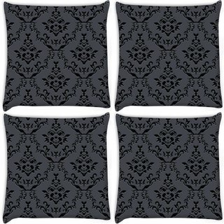 Snoogg Pack Of 3 Silvery Pattern Digitally Printed Cushion Cover Pillow 18 x 18Inch