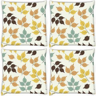 Snoogg Pack Of 3 Colorful Leaves Digitally Printed Cushion Cover Pillow 18 x 18Inch