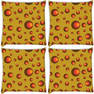 Snoogg Pack Of 3 Colorful Circles Digitally Printed Cushion Cover Pillow 18 x 18Inch