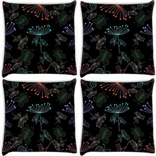 Snoogg Pack Of 3 Neon Plants Digitally Printed Cushion Cover Pillow 18 x 18Inch