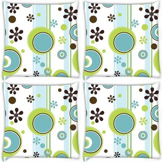 Snoogg Pack Of 3 Green Ball Blue Digitally Printed Cushion Cover Pillow 18 x 18Inch