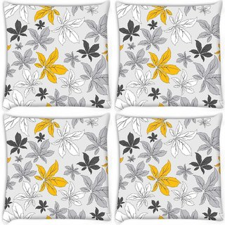 Snoogg Pack Of 3 Yellow Flower Grey Digitally Printed Cushion Cover Pillow 18 x 18Inch